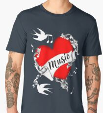 Tattoo Design Red Love Heart Music Lovers Cool Graphic Men's Premium T-Shirt