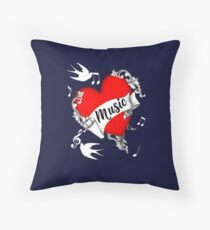 Tattoo Design Red Love Heart Music Lovers Cool Graphic Throw Pillow