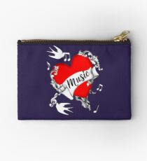 Tattoo Design Red Love Heart Music Lovers Cool Graphic Studio Pouch