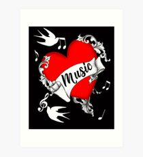 Tattoo Design Red Love Heart Music Lovers Cool Graphic Art Print