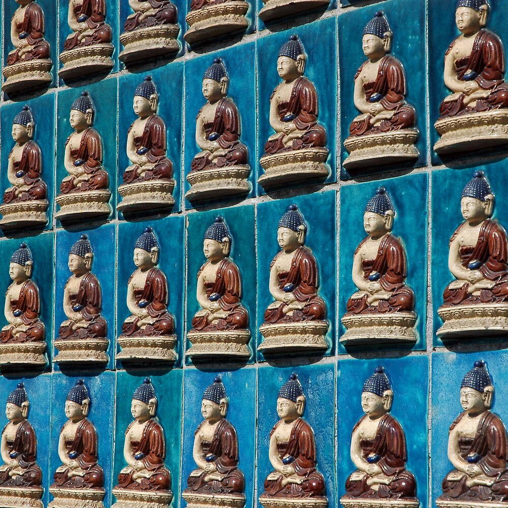 Buddha Tiles, Winter Palace, Beijing China by David Heckenberg