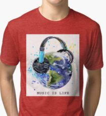 planet Earth with headphones  Tri-blend T-Shirt