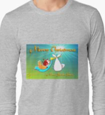 Christmas Baby Boy delivered by Santa and a Stork Long Sleeve T-Shirt