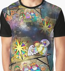 Seamless Watercolour Christmas Nativity Abstract Graphic T-Shirt