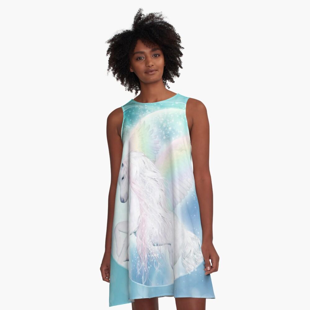 Rainbow Pegasus A-Linien Kleid
