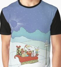 Santabird Tracking Through the Snow with Rudolph Graphic T-Shirt