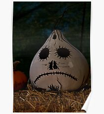 sad scary halloween gourd Poster