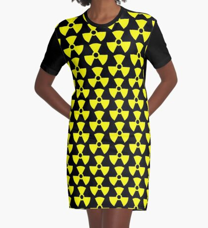 Warning Radiation T Graphic T-Shirt Dress