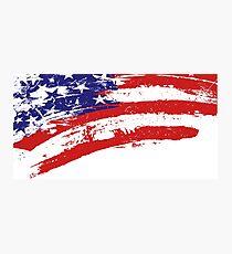 Damaged American flag Photographic Print