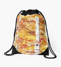Fall Birch Trees Drawstring Bag