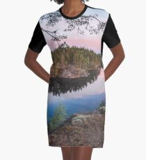 Midsummer lake view at midnight panorama Graphic T-Shirt Dress