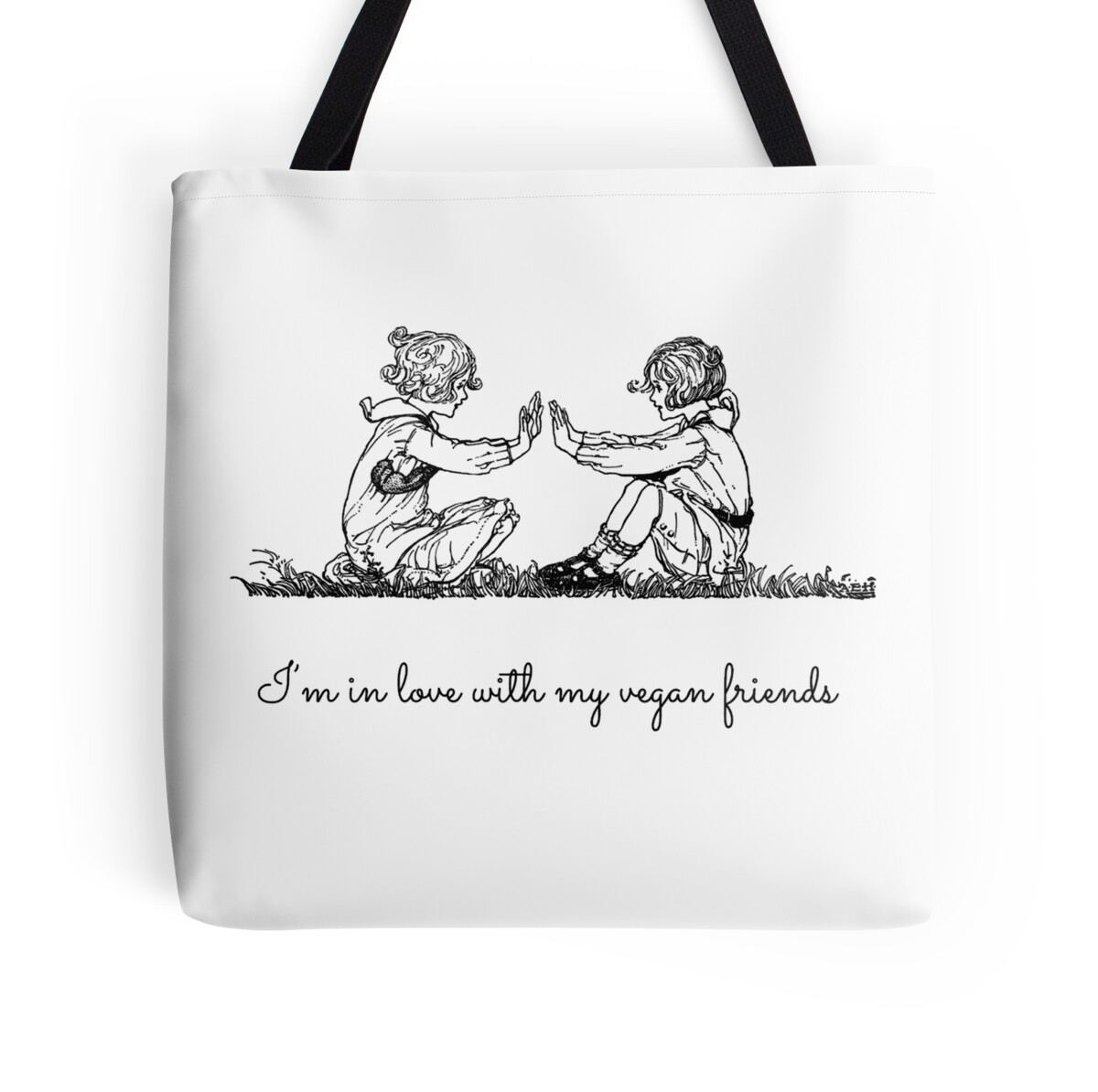 Tote bag drawing - I M In Love With My Vegan Friends Vegan Quote Vintage Drawing By