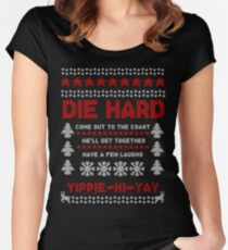 Die Hard 2018 Christmas Jumper Women's Fitted Scoop T-Shirt
