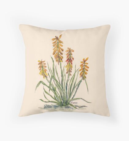 Kniphofia (Red Hot Poker) Throw Pillow