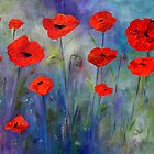 Red Poppies Blue Fog by Claire Bull