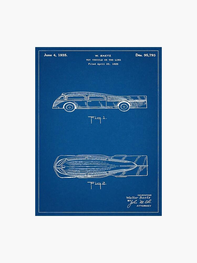 1935 Art Deco Toy Bus Patent Art Blueprint | Photographic Print