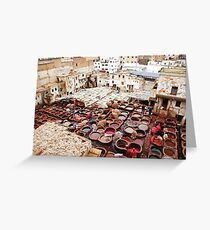 A tannery in Fes Greeting Card