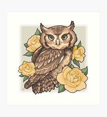 Screech Owl + Yellow Roses Art Print