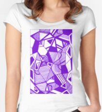As Worlds Collide (Royal Purple) #Geometric #New #Polygon #Triangle #Lines #Sketch #Black #White Women's Fitted Scoop T-Shirt