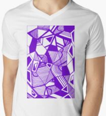 As Worlds Collide (Royal Purple) #Geometric #New #Polygon #Triangle #Lines #Sketch #Black #White Men's V-Neck T-Shirt