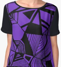 As Worlds Collide (Royal Purple) #Geometric #New #Polygon #Triangle #Lines #Sketch #Black #White Women's Chiffon Top