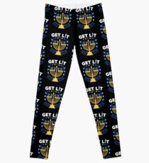 We're About To Get Lit Chanukah  Leggings