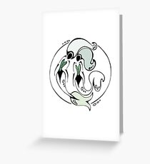 Sister Mermaids - Green Greeting Card