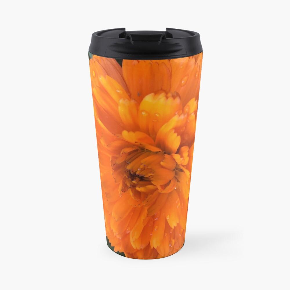 Marigold with Raindrops Travel Mug