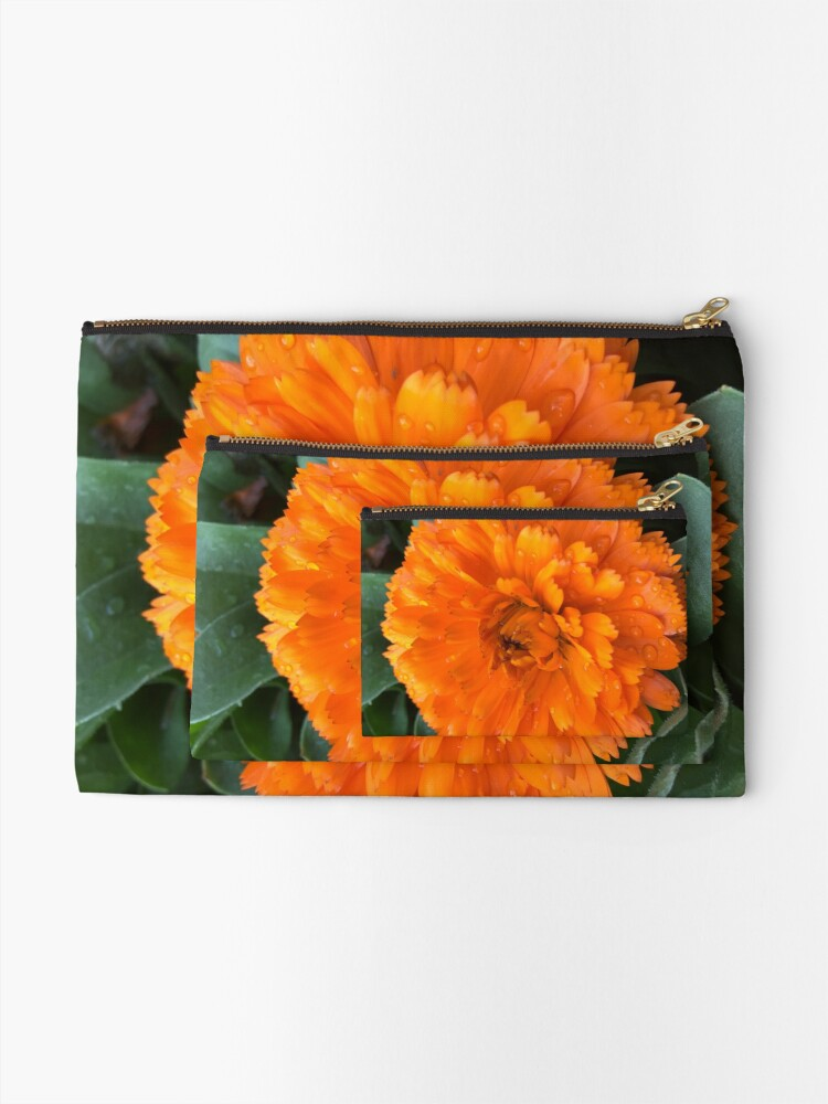 Alternate view of Marigold with Raindrops Zipper Pouch