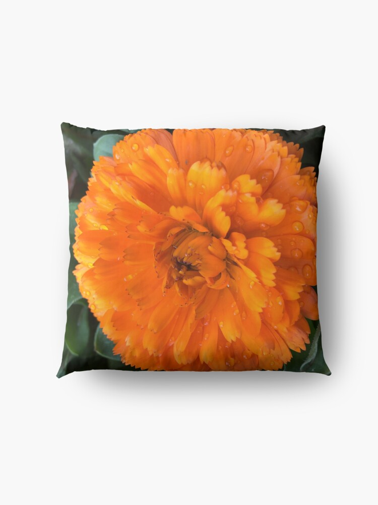 Alternate view of Marigold with Raindrops Floor Pillow