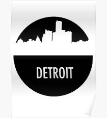 Detroit Skyline Shadow Poster