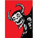 Black and White Demon on red by James Powell