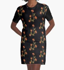 Black Background Orange Lilies Floral Pattern Graphic T-Shirt Dress