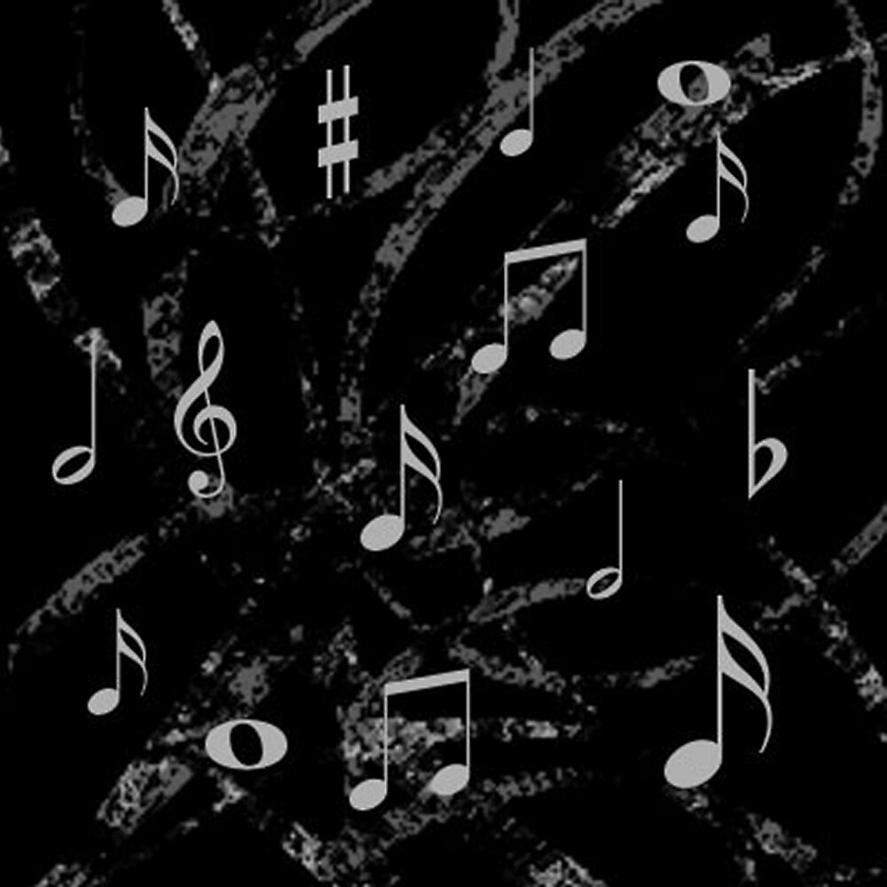 Quot Grey And Black Music Notes Pattern Quot By Havendesign