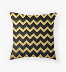 Black and Gold Chevron  Throw Pillow