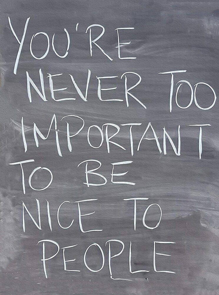 You're Never Too Important To Be Nice To People by #PoptART products from Poptart.me