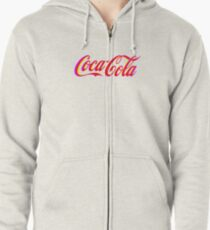 Fringed Coca Cola Sign Zipped Hoodie