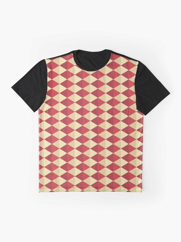 Alternate view of Geometric Pattern: Split Diamond: Red Graphic T-Shirt