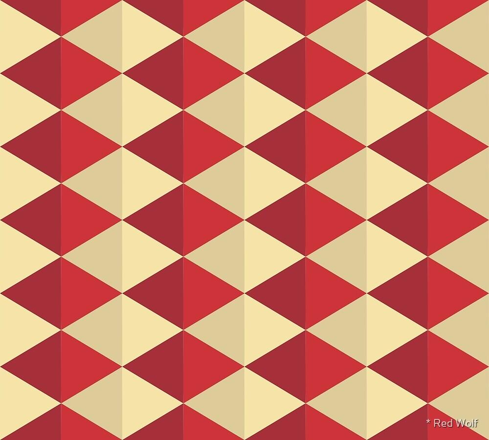 Geometric Pattern: Split Diamond: Red by * Red Wolf