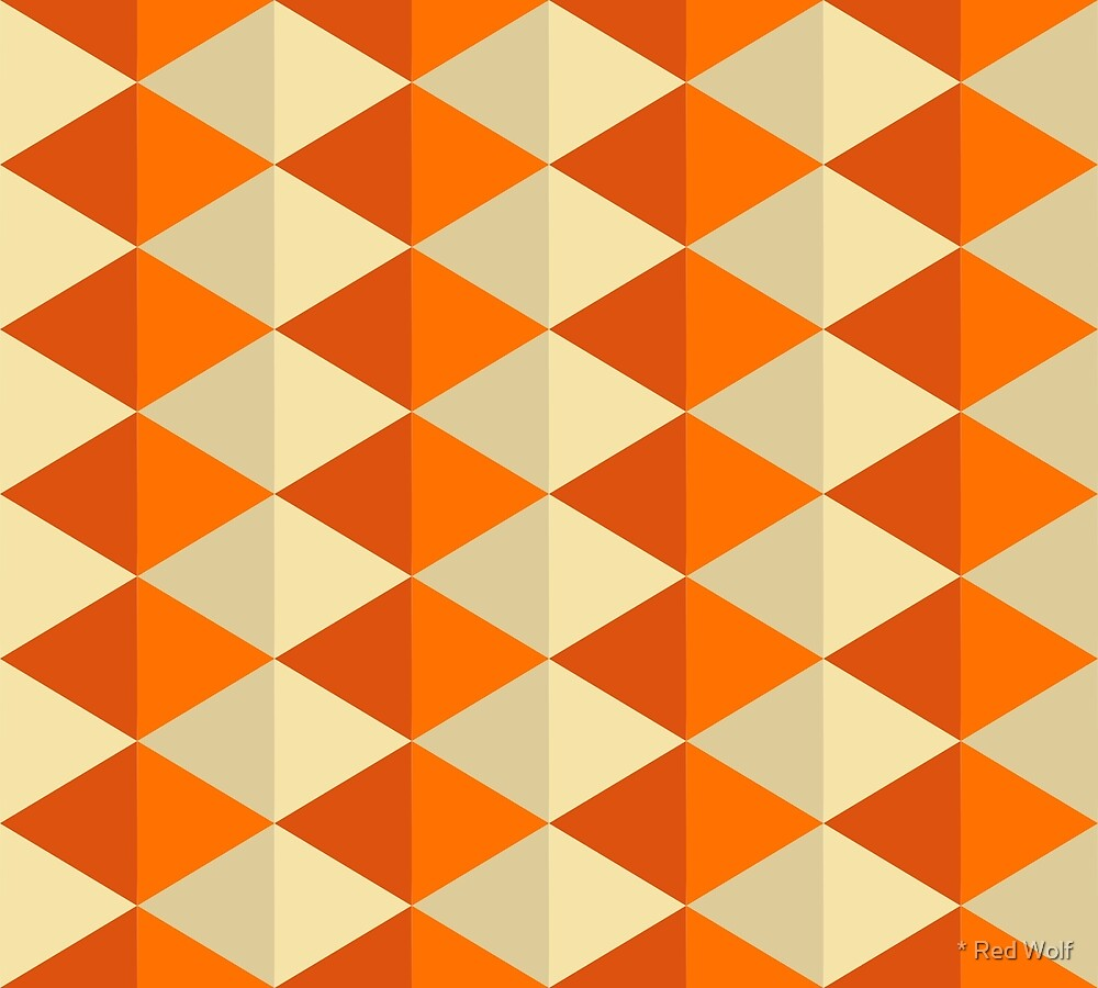 Geometric Pattern: Split Diamond: Orange by * Red Wolf