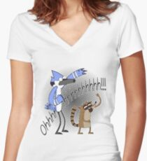 Regular show OOOooooo !!! Women's Fitted V-Neck T-Shirt