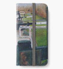 Looking down Hurleston locks from lock No 2 iPhone Wallet/Case/Skin