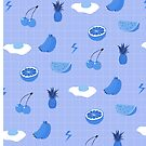 Monochrome fruit (blue) by wallpaperfiles