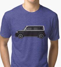 Vectored Boxcar Two Tone Silver/Black Tri-blend T-Shirt