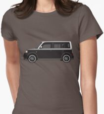 Vectored Boxcar Two Tone Silver/Black Women's Fitted T-Shirt