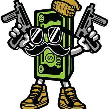 Gangster Cash Money Cartoon Character by ThatMerchStore
