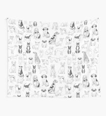 Dogs Dogs Dogs - White background Wall Tapestry