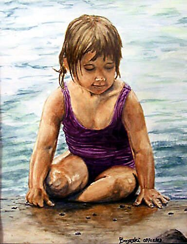 Girl at the beach by BogArt56