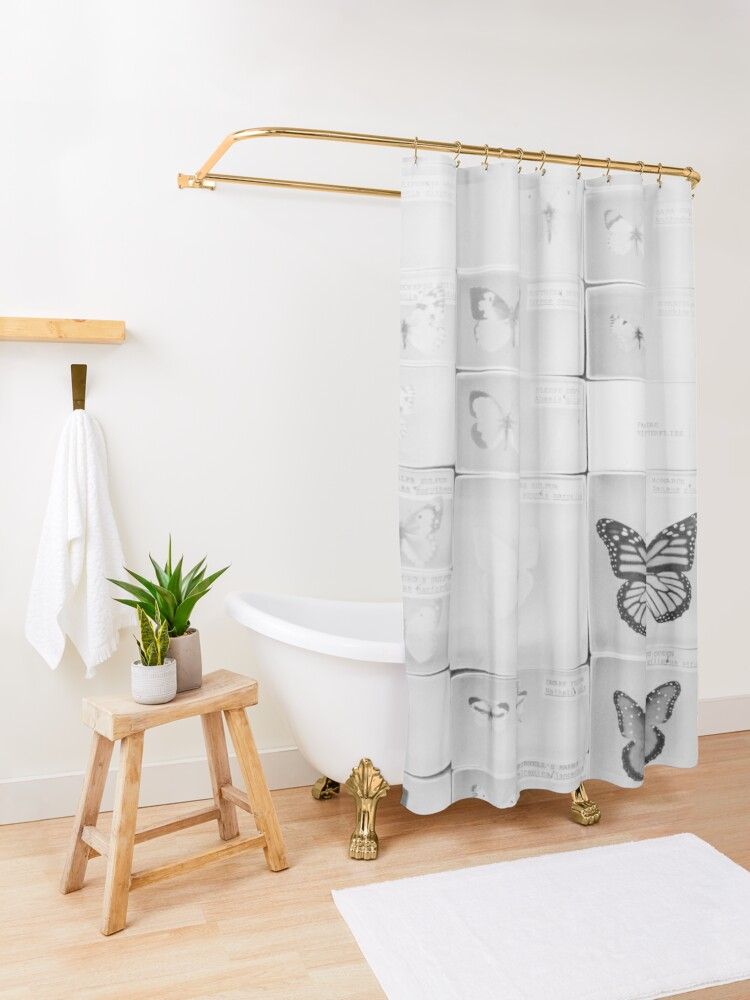 Alternate view of Lepidopterology Shower Curtain