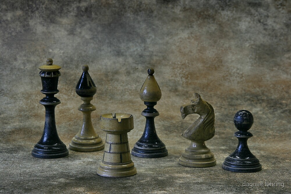 old chess figures by dagmar luhring